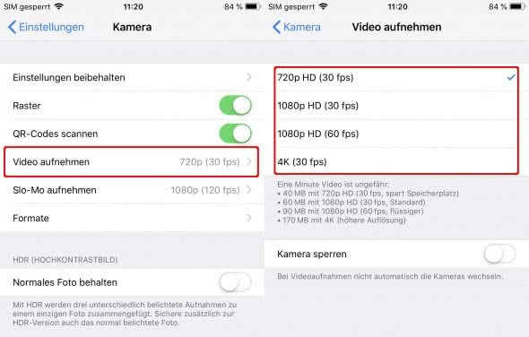 iPhone Videoqualität ändern