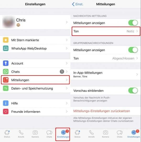 WhatsApp Ton ändern