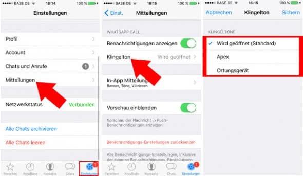 WhatsApp Klingelton ändern
