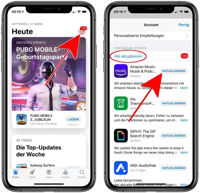 Apps aktualisieren in der App Store App
