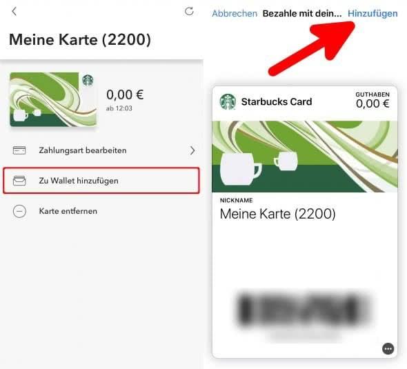 Karten zu Apple Wallet hinzufügen in der Starbucks-App am iPhone