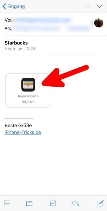 Karten zu Apple Wallet hinzufügen via E-Mail am iPhone