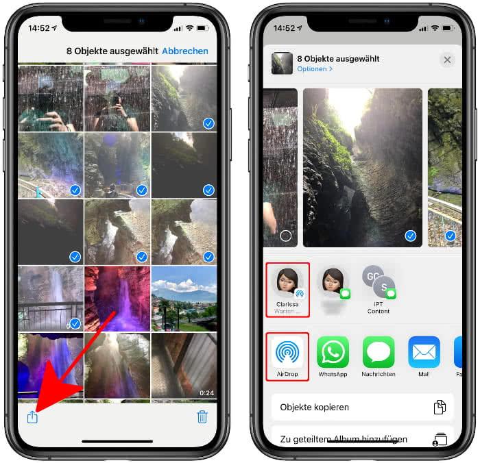 Fotos von iPhone auf Mac übertragen per AirDrop