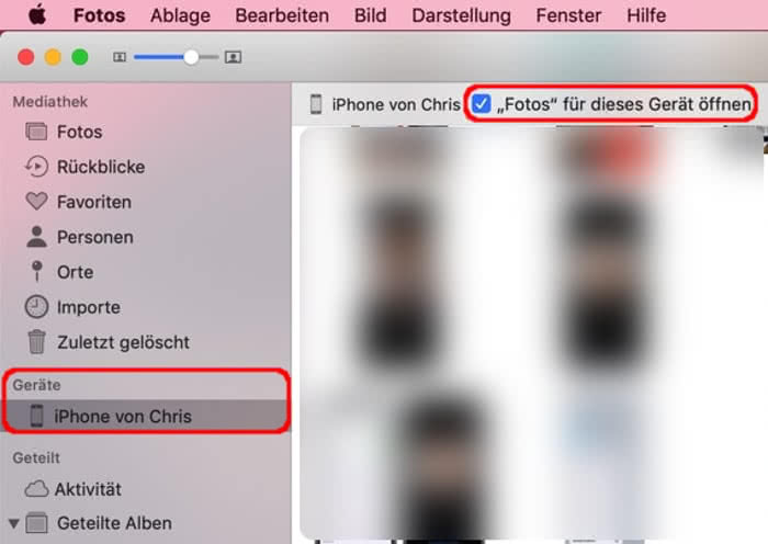 iPhone Fotos in der Fotos-App auf dem Mac anzeigen
