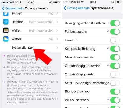 iPhone Akku sparen - Systemdienste deaktivieren