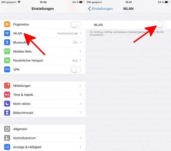 iPhone Akku sparen - Wlan deaktivieren