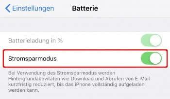 Stromsparmodus aktivieren auf dem iPhone