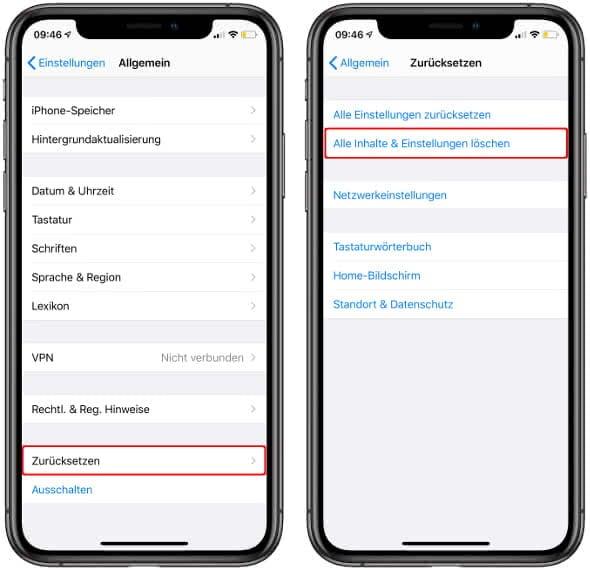 Alle Inhalte und Einstellungen löschen auf dem iPhone löschen