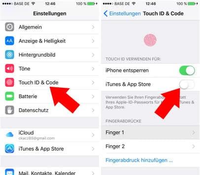 Gratis Apps am iPhone ohne Passwort-Eingabe herunterladen - Touch ID deaktivieren
