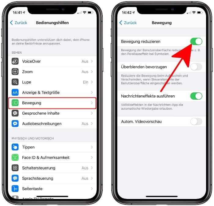 Bewegung reduzieren am iPhone
