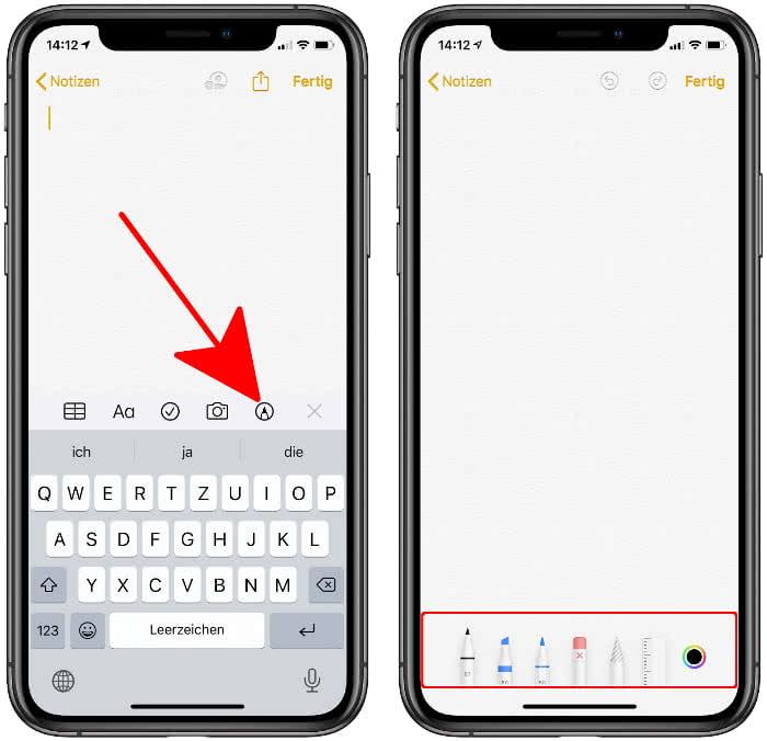 Werkzeugleiste einblenden in der Notizen app