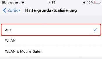 iPhone Hintergrundaktualisierung ausschalten
