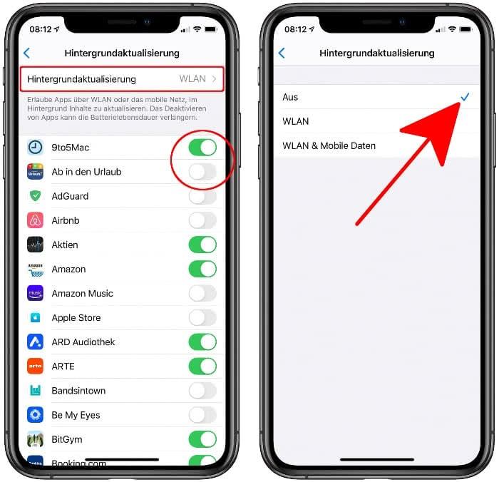 iPhone Hintergrundaktualisierung deaktivieren