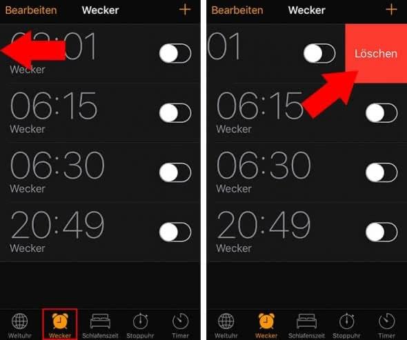 iPhone Wecker schneller löschen