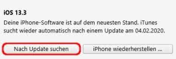 In iTunes nach Update suchen