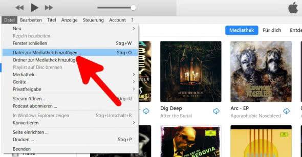 Datei zur iTunes Mediathek hinzufügen