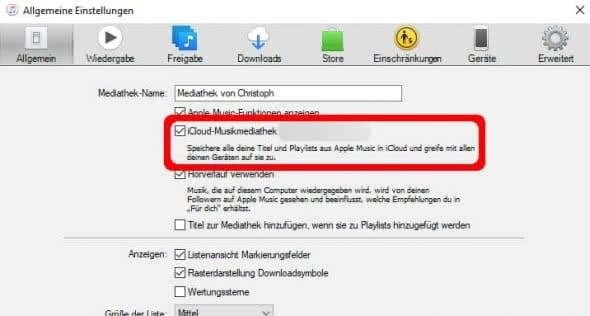 iCloud-Mediathek aktivieren in iTunes