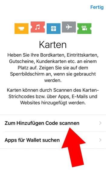 Karten zu Wallet hinzufügen Code scannen