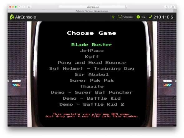 AirConsole NES-File starten