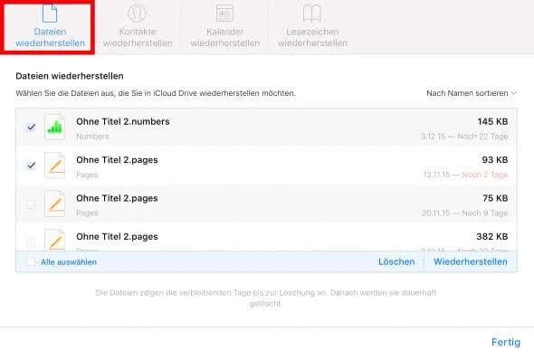 iCloud Dateien wiederherstellen