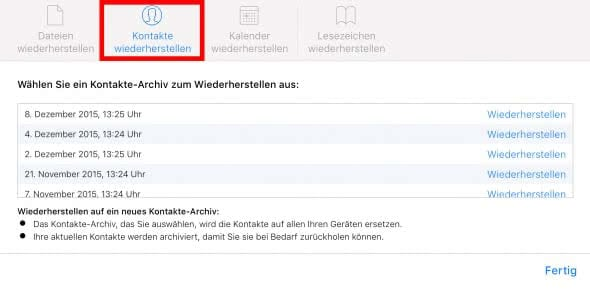 iCloud Kontakte wiederherstellen