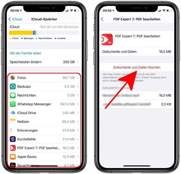 App Dokumente und Daten aus iCloud löschen