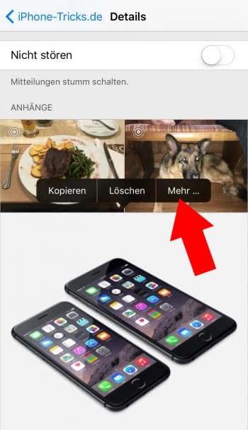 Mehrere Fotos löschen in Nachrichten App