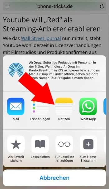 Safari Notiz erstellen