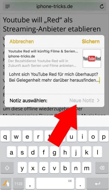 Notiz erstellen aus Apps