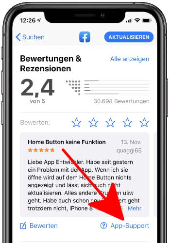 App-Support kontaktieren am iPhone