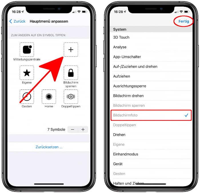 AssistiveTouch-Menü anpassen und Bildschirmfoto hinzufügen