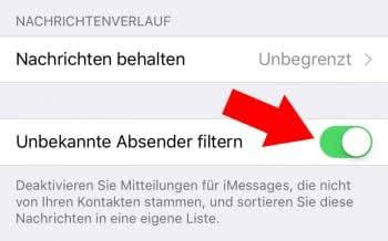 iMessages von unbekannten Absendern filtern