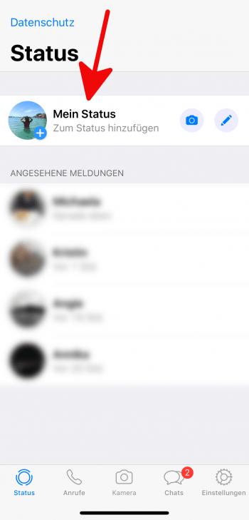 Neuer Status WhatsApp
