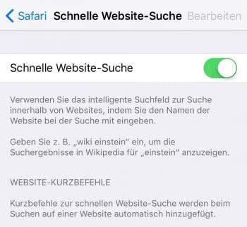 Schnelle Website-Suche aktivieren