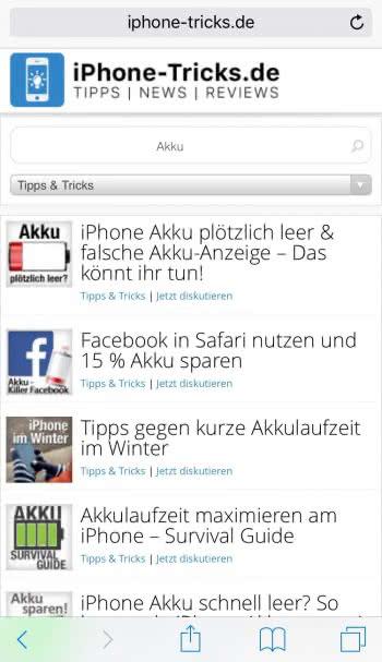 GESAMTE Website schnell über Safari-Suchfeld durchsuchen