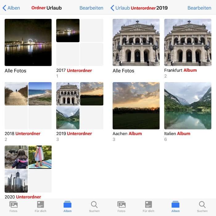 Verschachtelte Ordner und Alben in der Fotos-App