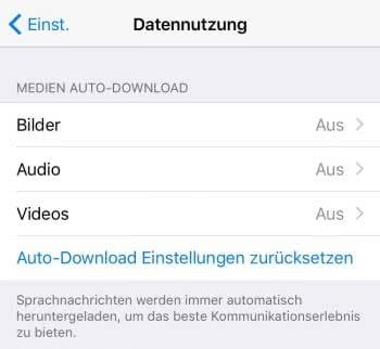 Automatischen Download deaktivieren