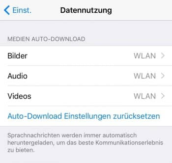 Automatischen Download auf WLAN einschränken