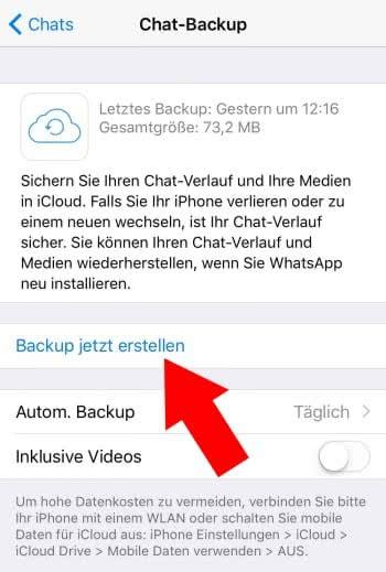 Nachrichten sichern mit einem Whatsapp Backup