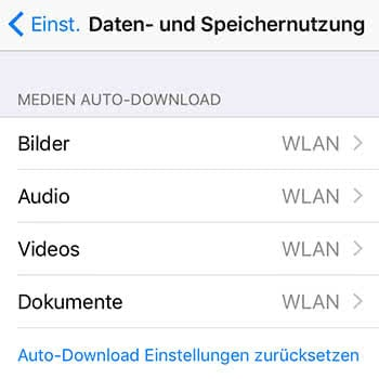 Datenvolumen in WhatsApp sichern