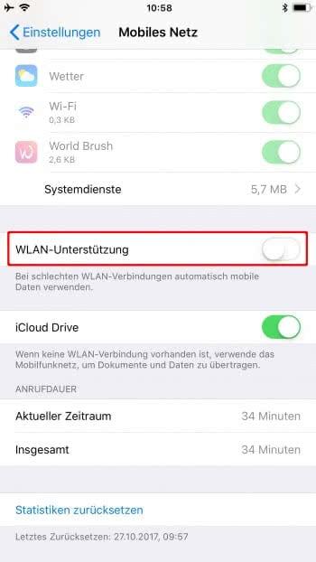 WLAN-Unterstützung ausschalten