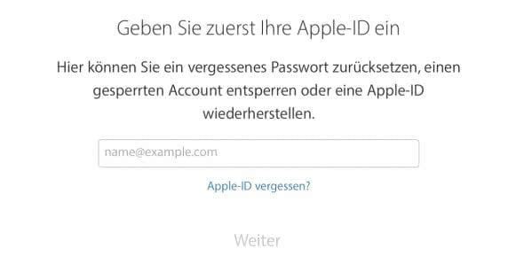 Apple-ID Passwort zurücksetzen bei aktivierter zweistufiger Authentifizierung