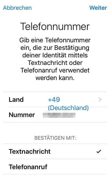 Zweistufige Authentifizierung für Apple-ID aktivieren