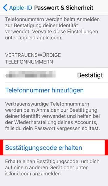 Zweistufige Authentifizierung für Apple-ID aktivieren - Auf anderen Geräten anmelden