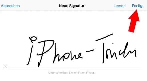 Unterschrift hinzufügen