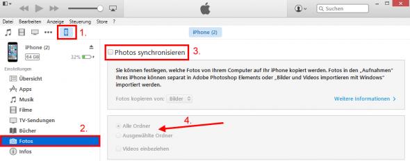 Fotos vom iPhone auf PC per iTunes