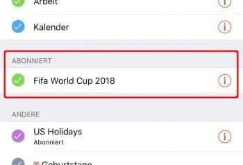 iPhone Kalender Abos anzeigen