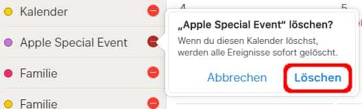 iPhone Kalender löschen in iCloud
