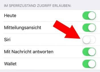 Siri im Sperrbildschirm deaktivieren