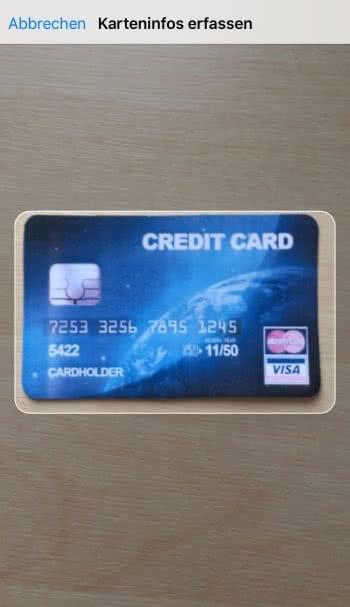Kreditkarte scannen